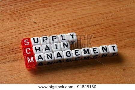 SCM Supply Chain Management written on dices on wooden background poster