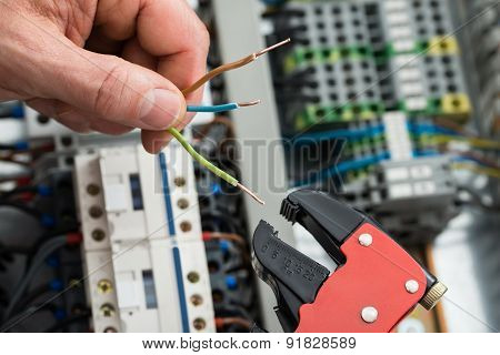 Technician Holding Cables And Work Tool