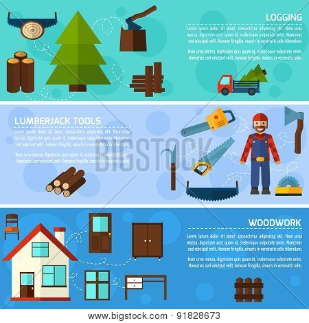 Woodworking industry horizontal banners set with logging lumberjack tools elements isolated vector illustration poster