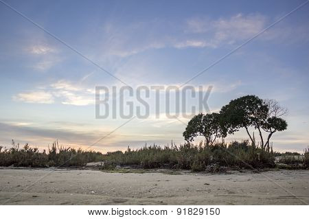 Algarve Cavacos Beach Sunset Landscape At Ria Formosa Wetlands Reserve, Southern Portugal.