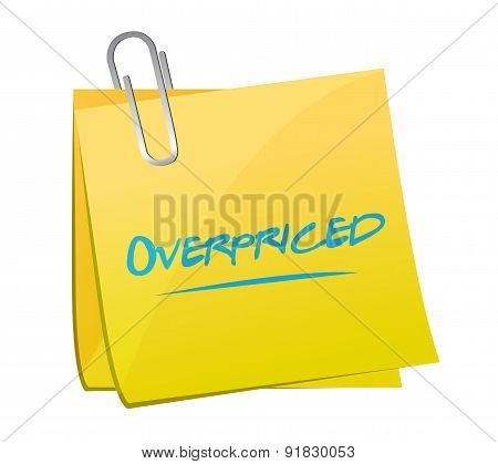 Overpriced Post Sign Concept Illustration