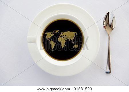 drinks, energetic, morning and caffeine concept - world map in cup of black coffee with saucer and spoon on table