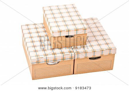Three cardboard boxes isolated on white