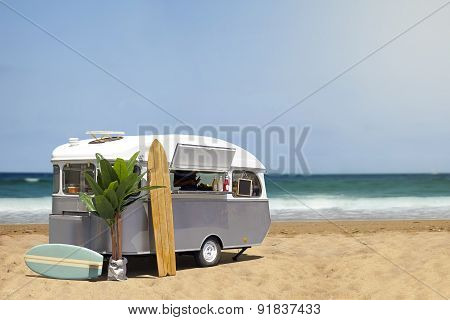 Food Truck Caravan On The Beach