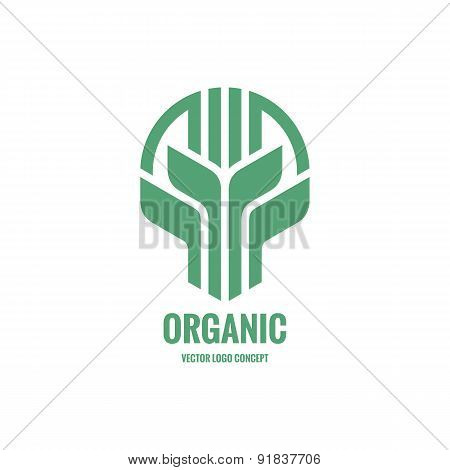 Sprouts and leaves - vector logo concept illustration.