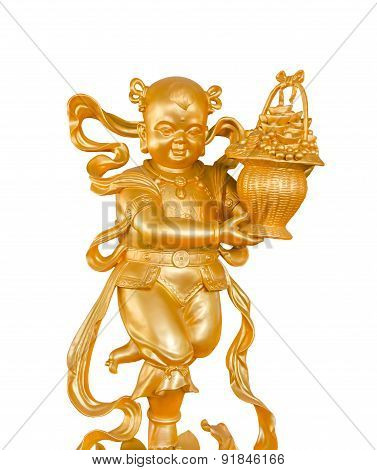 Gold Children God of Wealth or prosperity (Cai Shen) statue isolated on white background clipping path. poster