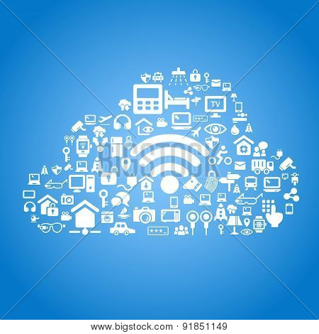 Internet of things and cloud computing concept - cloud outline by cloud computing and Internet of things concept icons poster