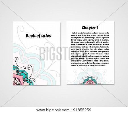 Design Of Boock Cover Whit Doodle Abstract Flower.