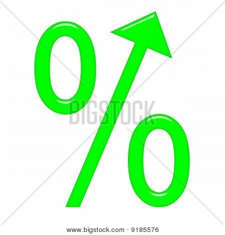 3D Percent Symbol With Arrow Directed Up