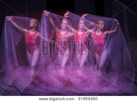 photo as art - a sensual and emotional dance of beautiful ballerina through the veil on a dark background. A stroboscopic image of the one model poster