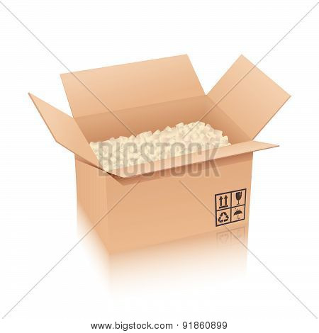Cardboard box with cushioning material