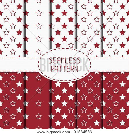 Set of red hipster fashion geometric seamless pattern with diamond. Collection of wrapping paper. Pa