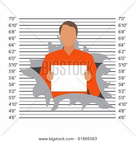Prisoner In Police Lineup Backdrop, Illustration, Vector