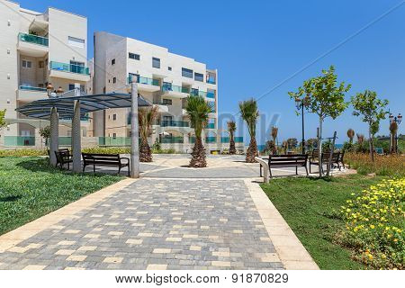 ASHQELON, ISRAEL - JULY 08, 2014: Contemporary residential complex in Ashqelon - coastal city on Mediterranean sea in Israel, oldest and largest seaport in historic Canaan, now popular tourist resort.