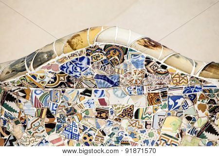 BARCELONA, SPAIN - MAY 3, 2015: Detail of the bench in the park Guell, designed by Antonio Gaudi in Barcelona, Catalonia, Spain,  part of the UNESCO World Heritage Site