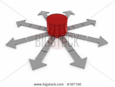 business arrow circle red grey