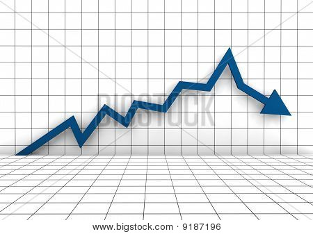 3d business blue graph arrow down