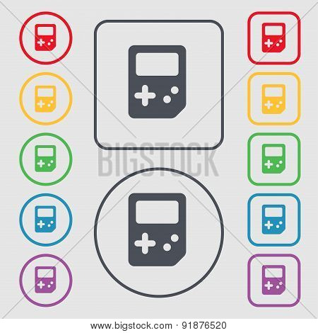 Tetris Icon Sign. Symbol On The Round And Square Buttons With Frame. Vector