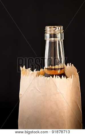 Detail Of Bottle In The Paper Bag