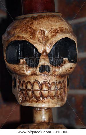 Wooden Skull Sculpture
