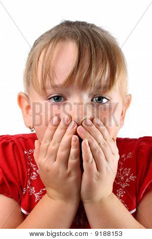 Small girl holding her mouth isolated on white