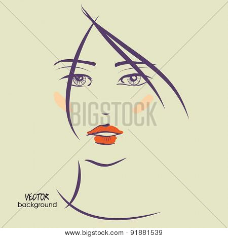 art sketched vector of girl face symbols with short straight hair and red lips
