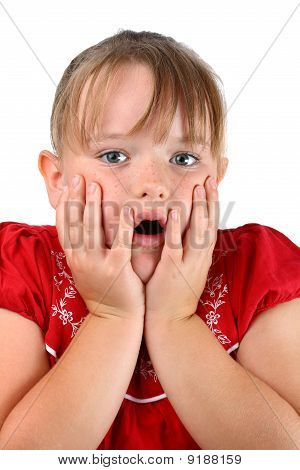 Small girl worried with mouth open isolated on white