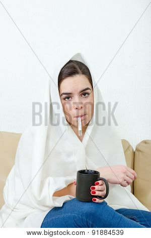 Upset Woman With Thermometer In Her Mouth Sick