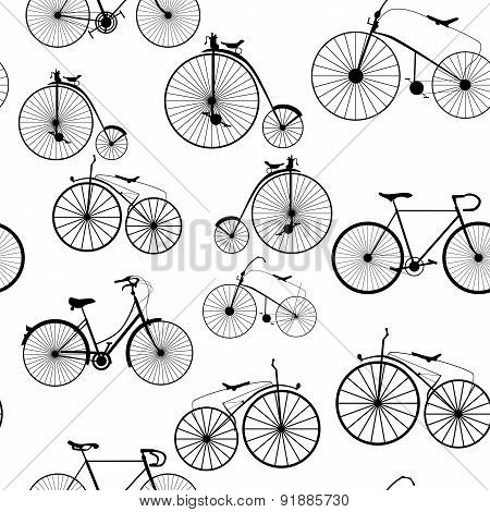 Seamless background pattern. Bicycle trip. Vector