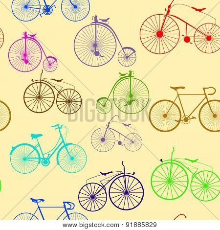 Seamless background pattern. Bicycle Vector Color