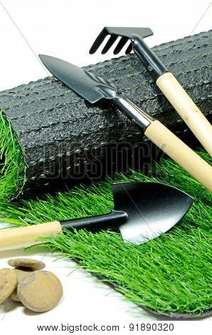 Small Gardening Tools and Artificial Turf.