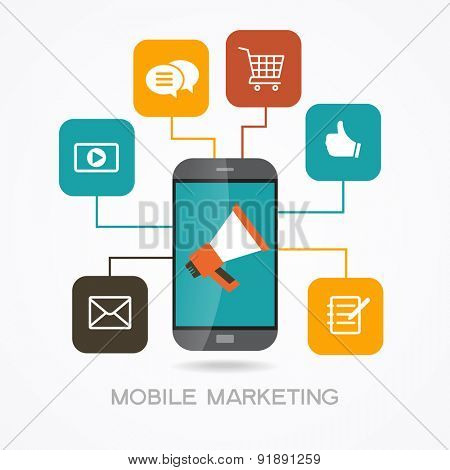 Marketing  promotion concept. Smartphone, megaphone surrounded by  interface icons. File is saved in AI10 EPS version. This illustration contains a transparency