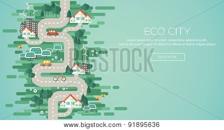 Flat Design Vector Illustration Concept of Ecology.