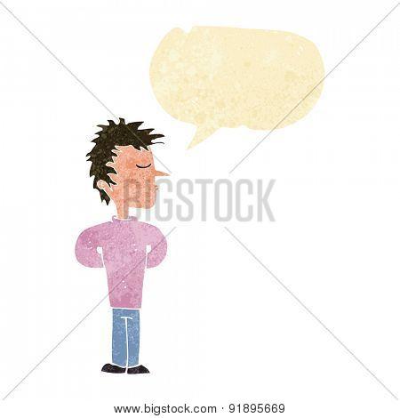 cartoon man ignoring with speech bubble