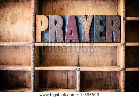 Prayer Concept Wooden Letterpress Theme