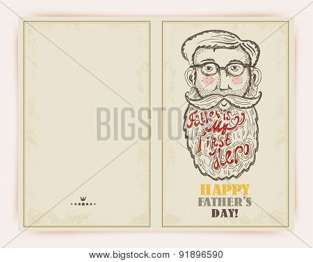 Father's day greeting card in doodle style