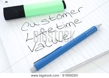 Customer Lifetime Value - handwritten text in a notebook on a desk - 3d render illustration. poster