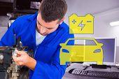 Male mechanic repairing car engine against auto repair shop poster