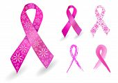 Breast cancer ribbon in pink with glitter flowers poster