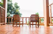 Two chair on the balcony. Spectacular view. Haad Yao, Phangan, Thailand.  poster