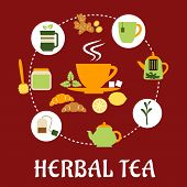 Herbal tea flat infographic design with cup of hot tea on saucer, mint leaves, sugars, lemon and croissant surrounded teapots and cups, honey jar with dipper, tea bag, tea leaves and ginger on red background with caption Herbal Tea below poster