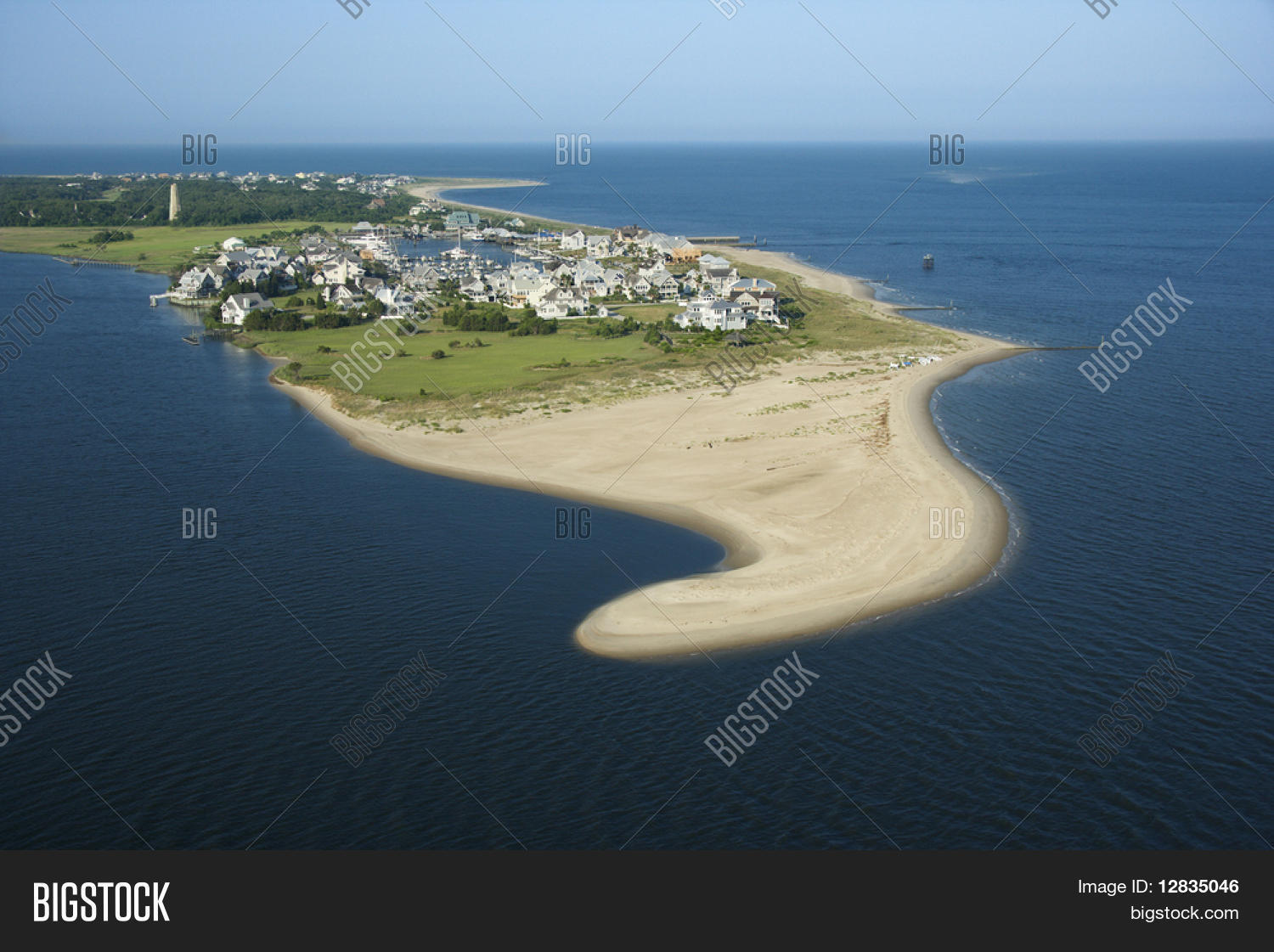 Aerial View Of Beach And Residential Community On Bald Head Island North Carolina