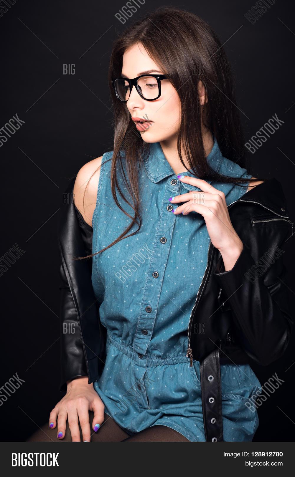 beautiful young woman. girl blue image & photo | bigstock