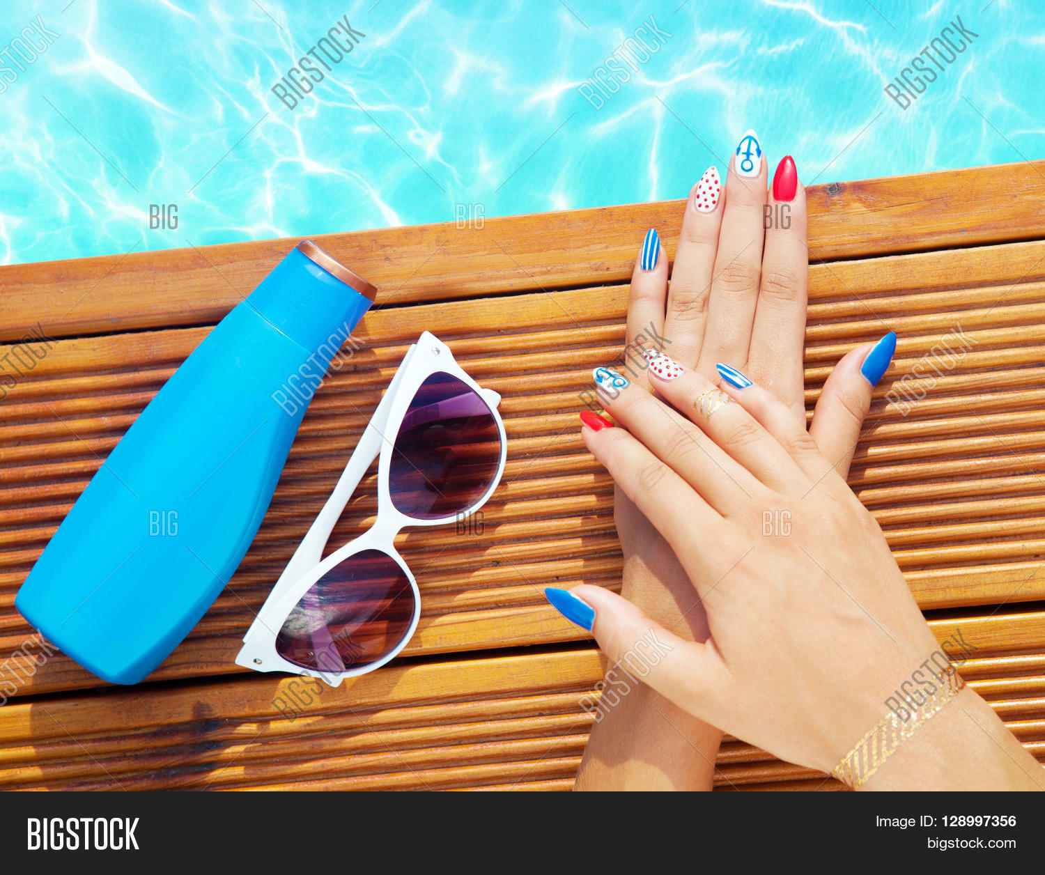 Woman Lying Down By The Pool Marine Sailor Gel Nails Close Up Summer Beauty Concept