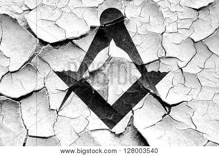 Grunge cracked Masonic freemasonry symbol