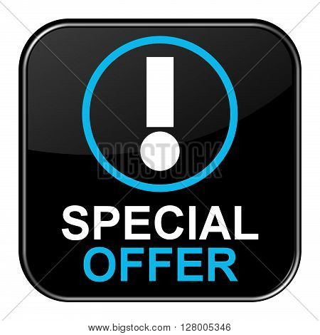 Isolated black shiny Button with symbol is showing Special Offer