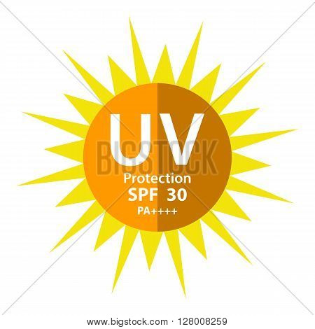 UV Protection logo with SPF 30 PA 3 plus isolated on white background