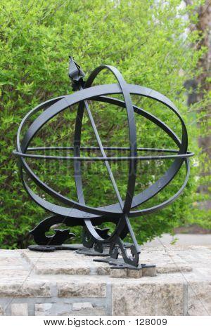 Black Iron Globe Sundial