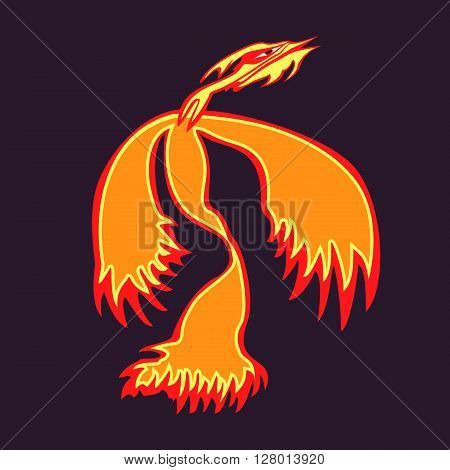 Phoenix bird rising from the ashes. Flaming Magic Fairy Bird. Phoenix bird vector template. Phoenix az.Flying Phoenix, logo, rebirth symbol. Luxury creative Logotype icon, tattoo. Vector illustration