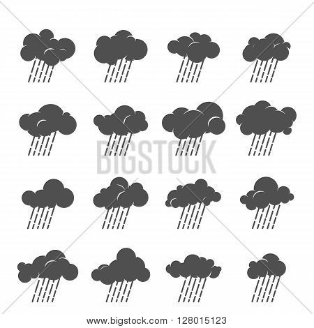 Vector cloud icon set. Cloud symbol collection. Grayscale clouds with rain. Design for web and print. Atmosphere pictogram. Silhouette of rainy cloud.